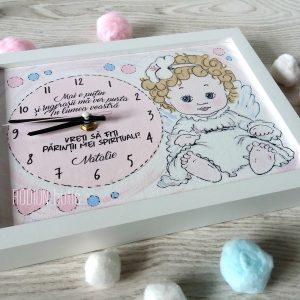 Ceas personalizat handmade pictat manual mesaj ingeras