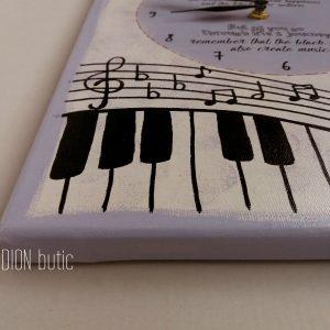 Ceas note muzicale handmade pictat manual personalizat cu mesaj pian