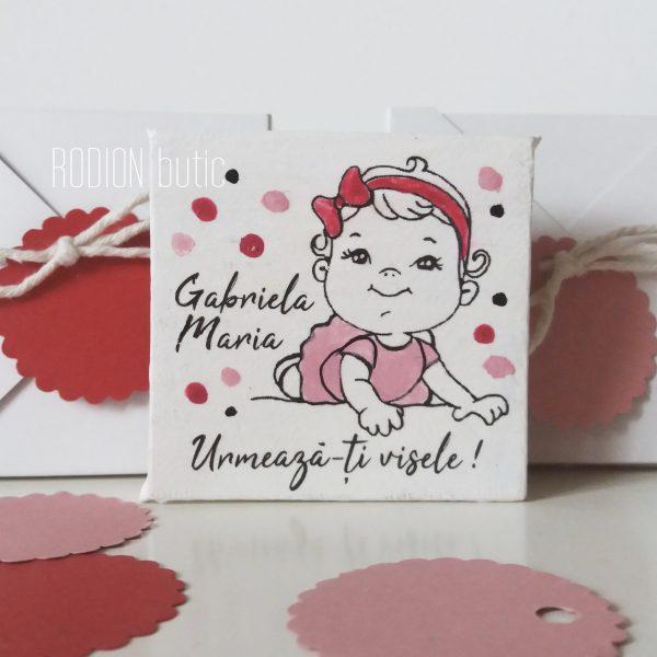 Marturii botez fetita personalizate magnetice pictate manual handmade