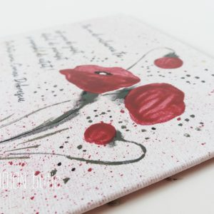 Placuta pictata manual pe panza maci personalizata cu mesaj