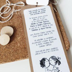 Invitatii creative handmade rustice nunta inedite story