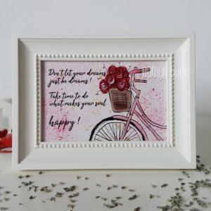 Tablou bicicleta pictat manual personalizat cu mesaj calatorie
