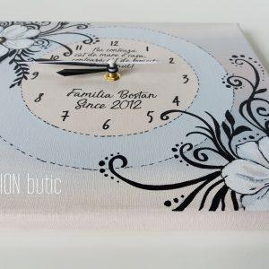 Ceas flori pictat manual personalizat cu mesaj handmade
