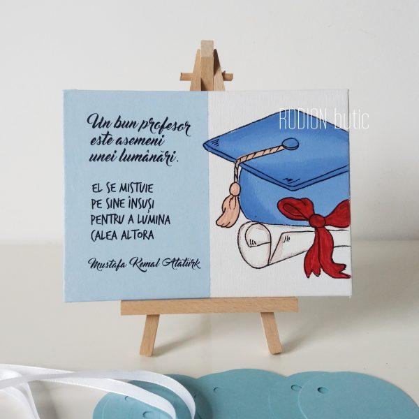 Cadou absolvire pictat manual personalizat cu mesaj