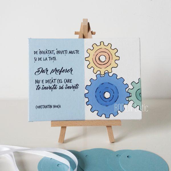 Cadou profesor absolvire pictat manual cu mesaj educatie tehnologica