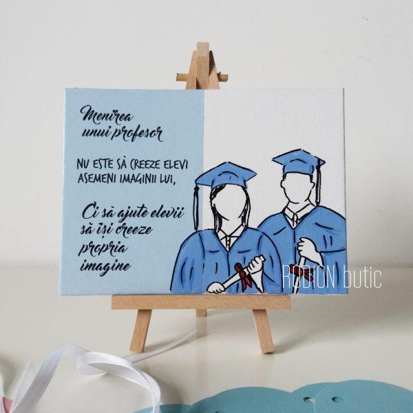 Placuta absolvire profesor pictata manual cu mesaj educatie civica