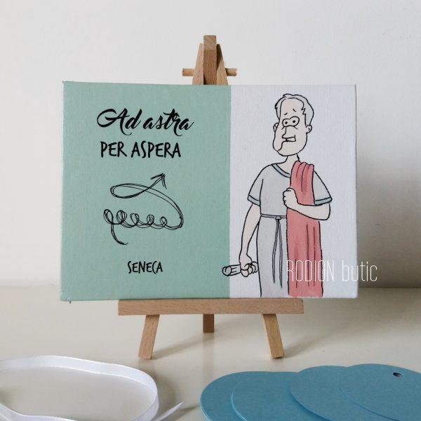 Placuta profesor latina personalizata cu mesaj pictata manual