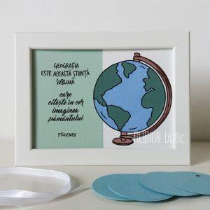 Placuta geografie personalizata cu mesaj handmade pictata manual