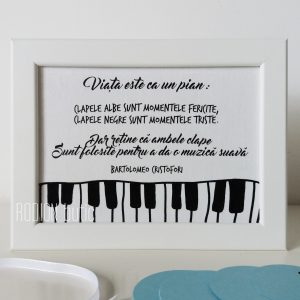 Placuta muzica personalizata cu mesaj handmade pictata manual