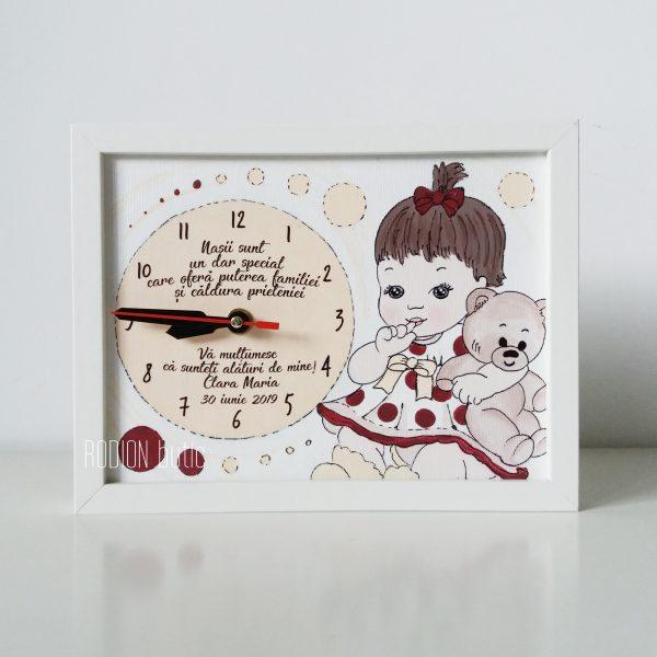 Cadou pentru nasi botez pictat manual fetita personalizat cu mesaj