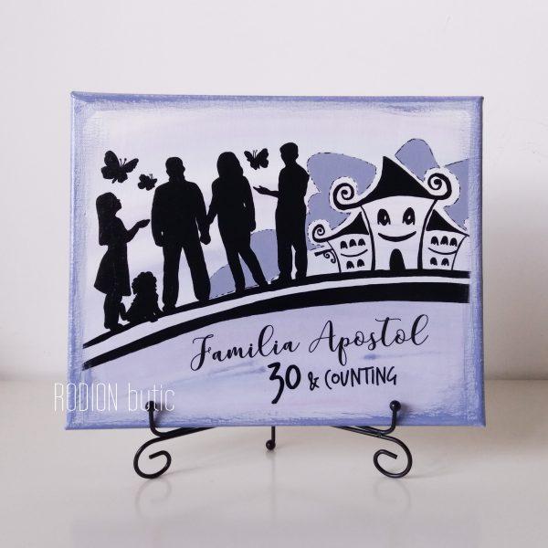 Tablou familie pictat manual personalizat cu mesaj aniversare