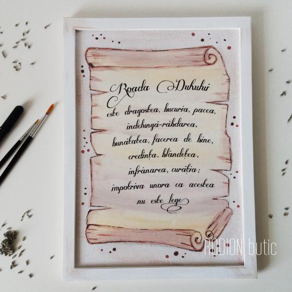Tablou verset biblie personalizata handmade pictat manual pergament