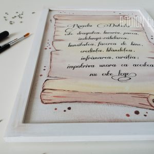 Tablou verset biblie personalizata handmade pictat manual pergament