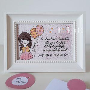 Cadou pentru educatoare pictat manual personalizat cu mesaj