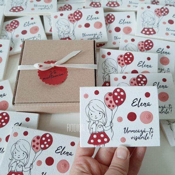 Magneti botez fetita baloane personalizate pictate manual handmade