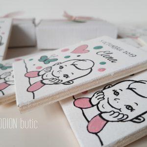 Marturii personalizate magnetice botez fetita pictate manual handmade