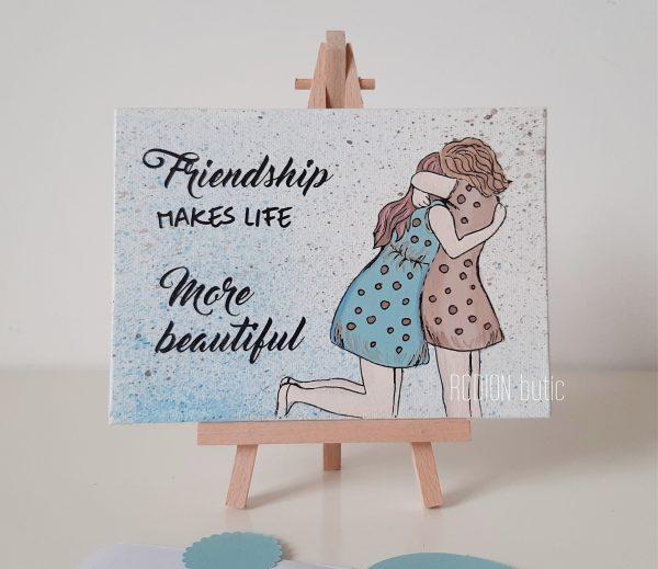 Tablou prietene best friends pictat manual personalizat cu mesaj
