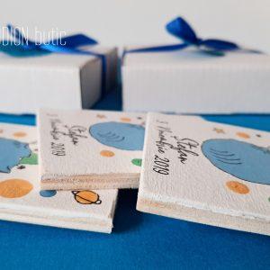 Marturii personalizate Micul Print pictate manual magneti botez