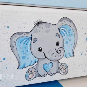 Cufar pentru amintiri elefantel pictat manual personalizat cu nume