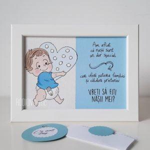 Placuta personalizata pentru nasi handmade pictata manual baietel