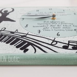 Ceas balerina pictat manual personalizat cu mesaj notez muzicale