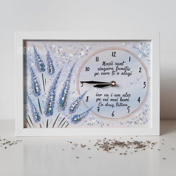 Ceas personalizat pentru nasi botez pictat manual lavanda