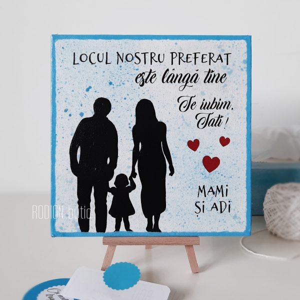Placuta familie pictata manual personalizata cu mesaj