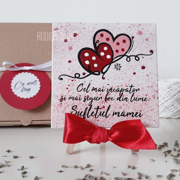 Cadou pentru mama pictat manual minicanvas personalizat cu mesaj