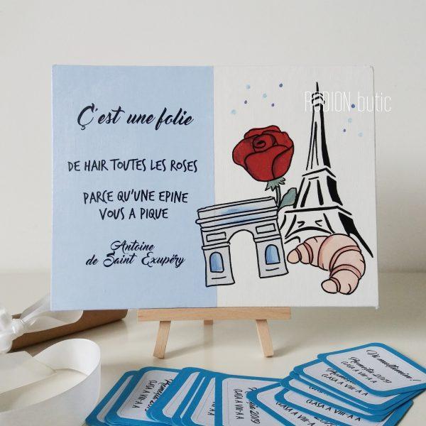Placuta francesa cadou absolvire pictata manual personalizata cu mesaj