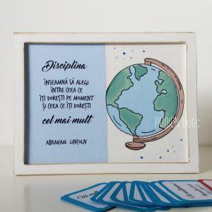 Placuta geografie cadou absolvire pictata manual personalizata cu mesaj
