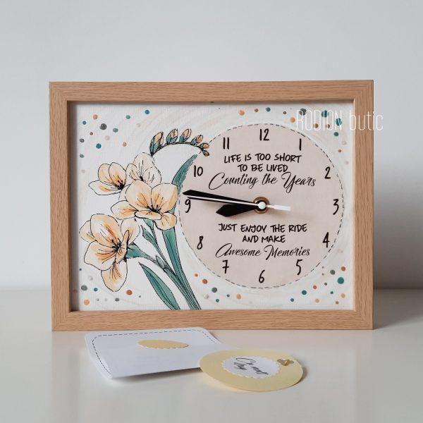 Ceas frezii aniversare pictat manual personalizat cu mesaj