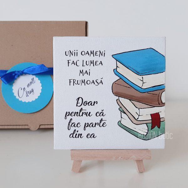 Minicanvas carti magnetic personalizat cu mesaj pictat manual