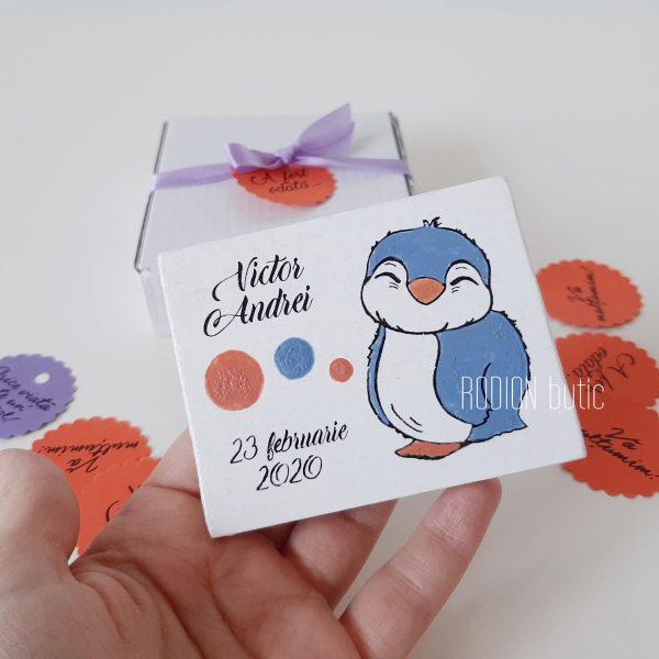 Marturii magneti botez pinguin personalizate pictate manual