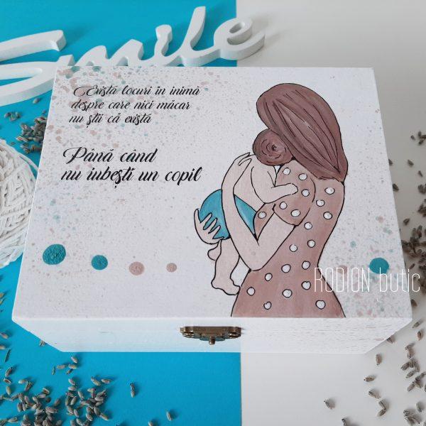 Cutie mama si copilul pictata manual personalizata cu mesaj