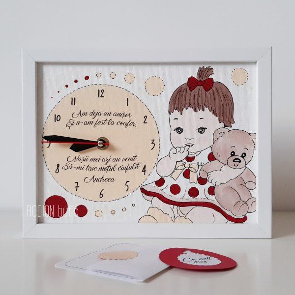Ceas taierea motului fetita handmade pictat manual personalizat cu nume