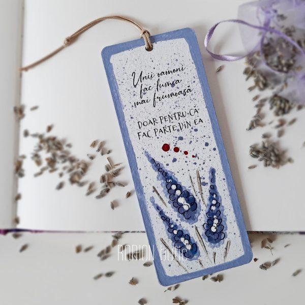 Semn de carte lavanda pictat manual cu mesaj personalizat