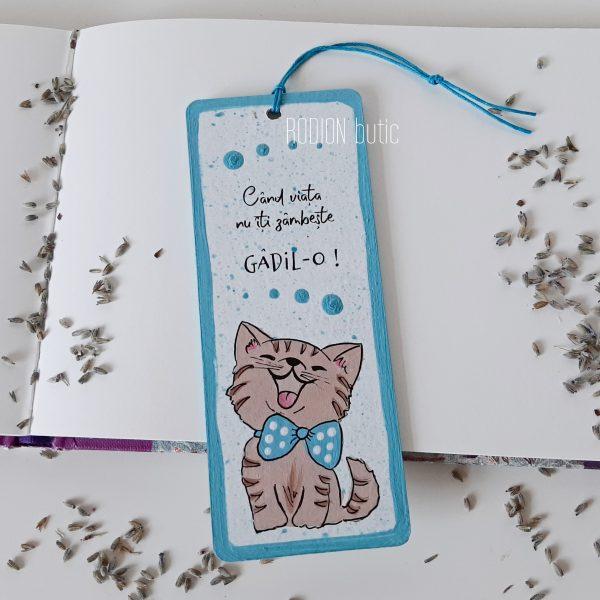 Semn de carte pisica handmade pictat manual cu mesaj