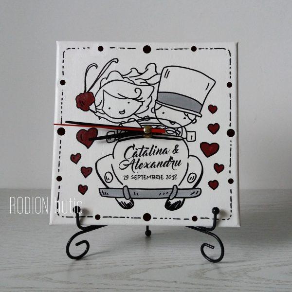 Ceas cuplu pictat manual handmade personalizat cu nume just married