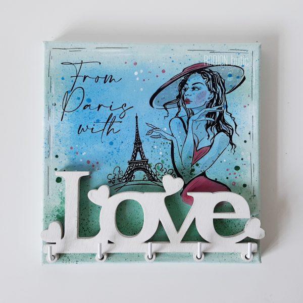 Cuier pentru chei Paris pictat manual personalizat cu mesaj