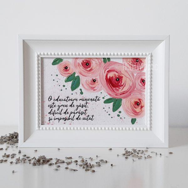 Tablou educatoare trandafiri pictat manual personalizat cu mesaj