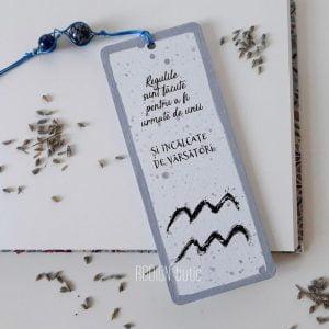 Semn de carte zodia Varsator pictat manual personalizat cu mesaj