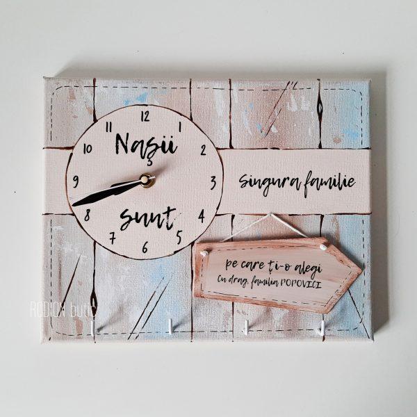 Suport chei si ceas personalizat pentru nasi handmade pictat manual