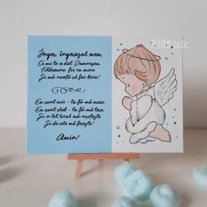 Placuta rugaciune Inger ingerasul meu handmade pictata manual bleu