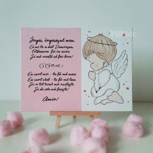 Placuta rugaciune Inger ingerasul meu handmade pictata manual roz