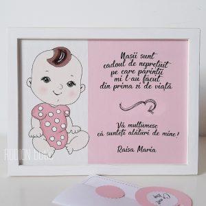Placuta pentru nasi pictata manual personalizata cu nume fetita