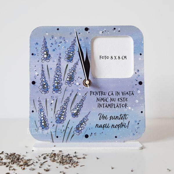 Ceas cu rama foto pentru nasi personalizat pictat manual lavanda