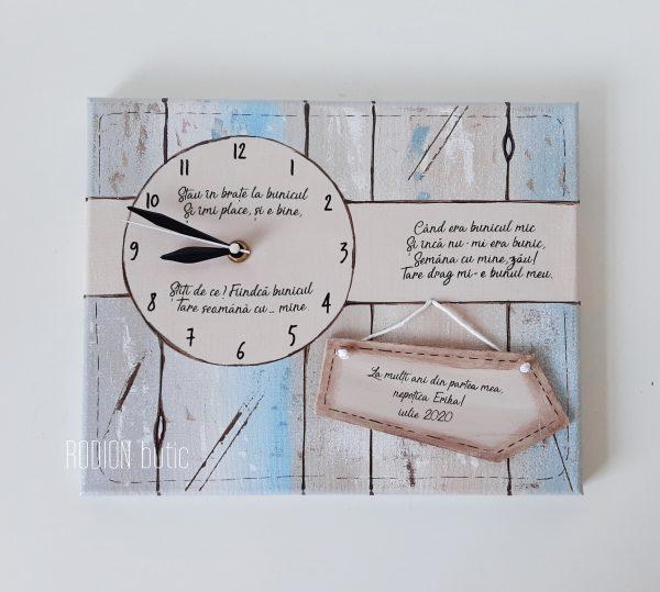 Ceas pentru bunicul personalizat cu nume handmade pictat manual