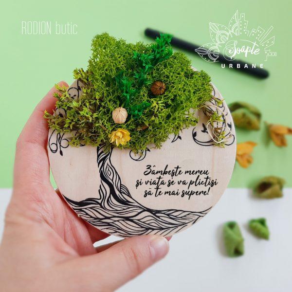 Magnet copacul vietii cu licheni stabilizati personaliat cu text handmade