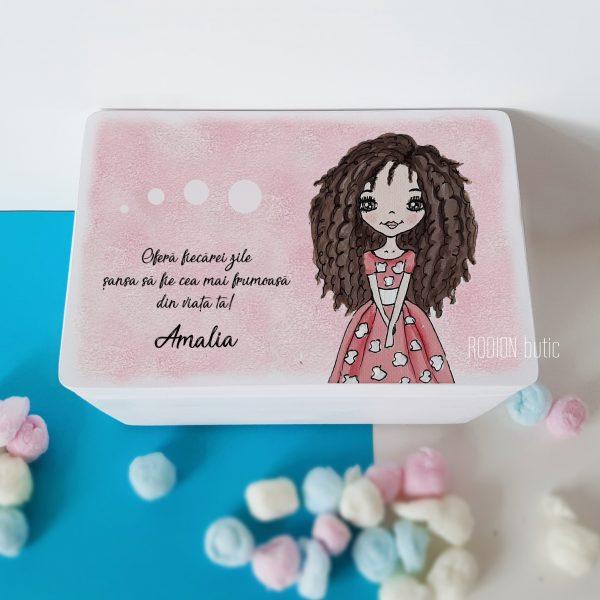Cufar pentru amintiri fetita personalizat cu nume si mesaj pictat manual
