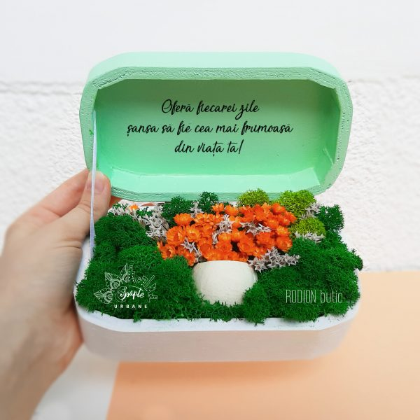 Aranjament licheni si flori uscate in cutie de lemn pictata manual personalizata